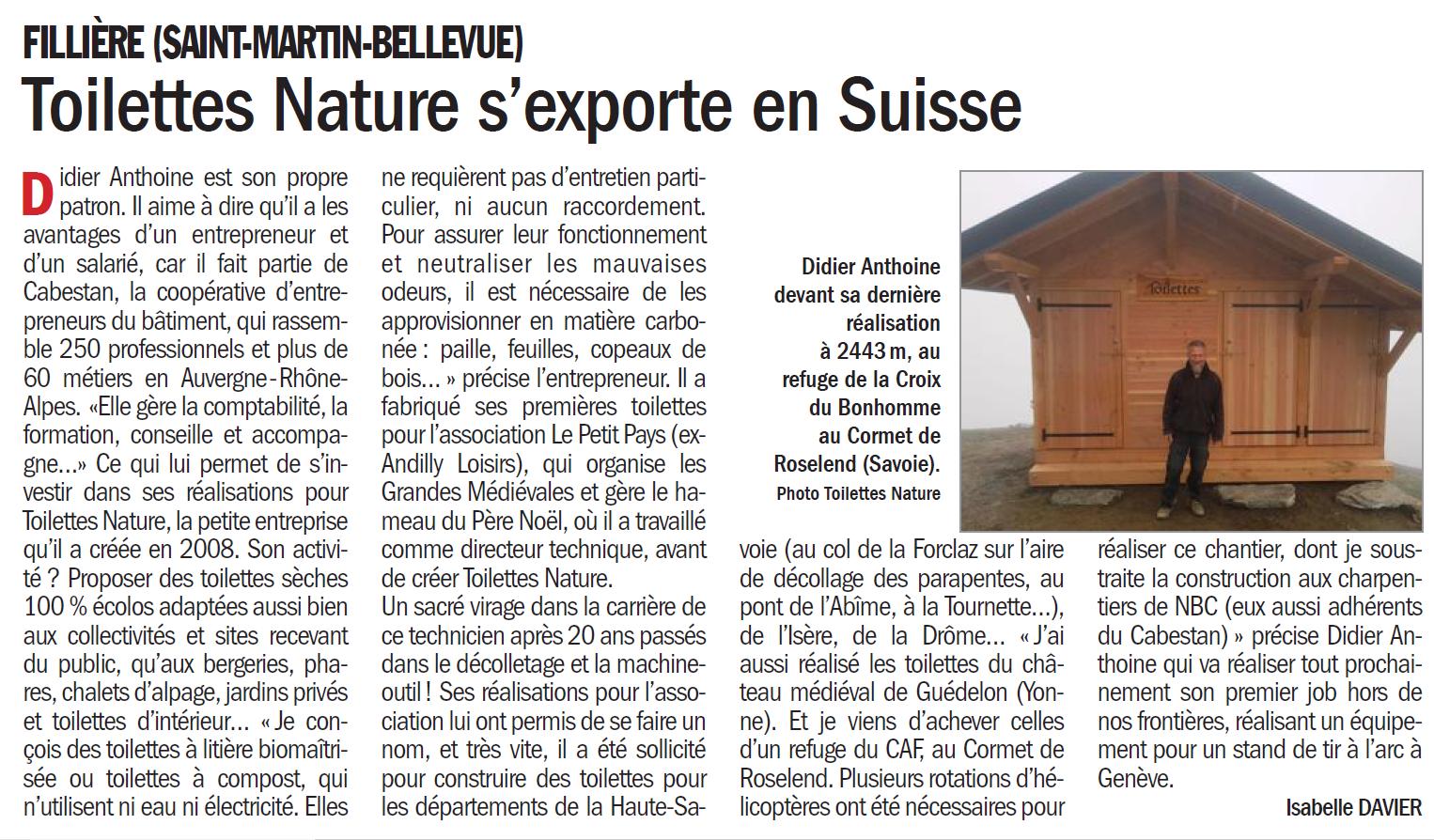 Le Dauphiné Libéré a écrit un article dans le supplément entreprise sur mon chemin professionnel et sur mon entreprise de construction de toilettes sèches