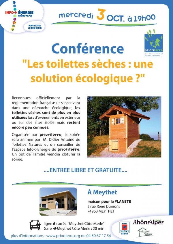 Conférence sur les toilettes sèches chez Prioriterre à la Maison pour la Planète