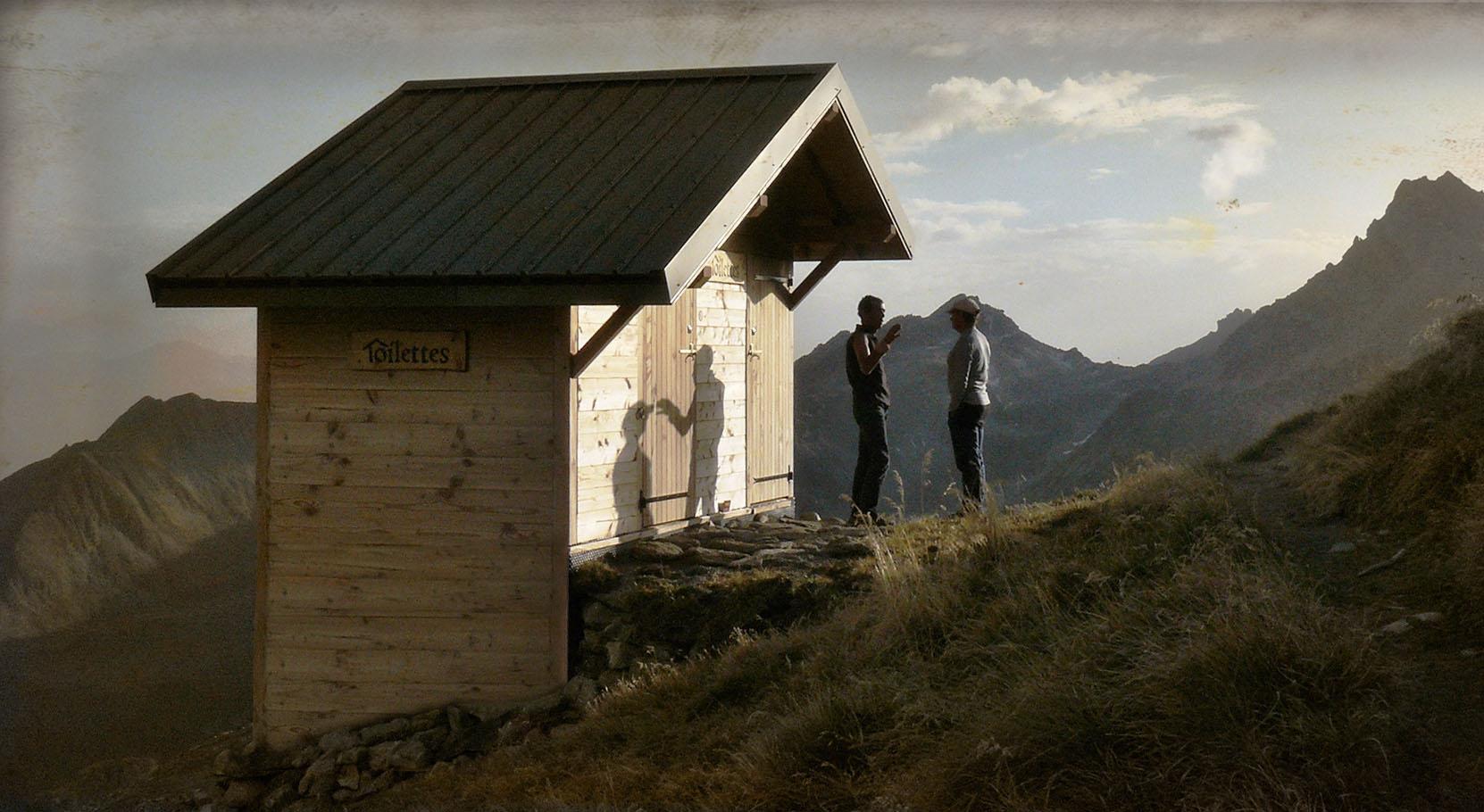 Jean et Nico devant la toilette de Presset